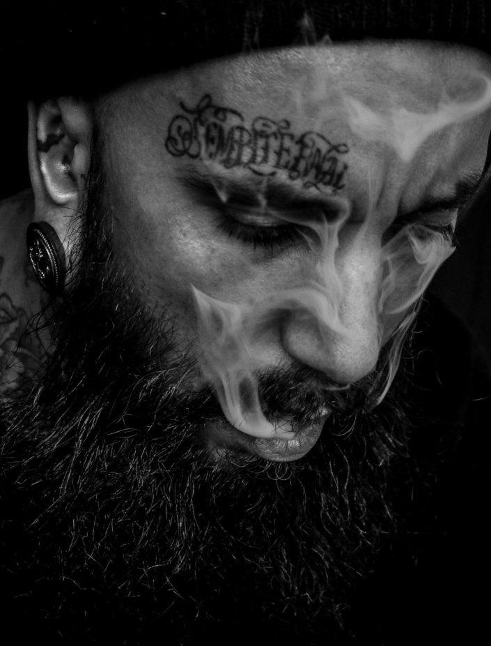 Portrait photography beard tattoos smoke cigarette