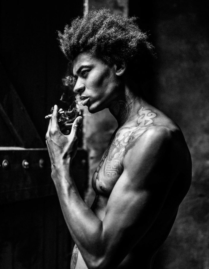 Male model portrait photography smoke cigarette black white